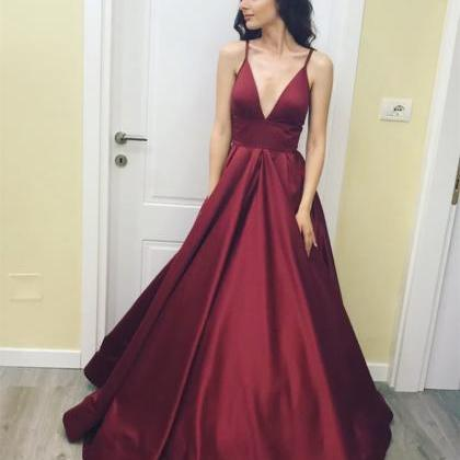 Deep V Neck Ball Gown Taffeta Prom ..