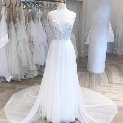 V Neckline Lace A Line Bridal Dress..