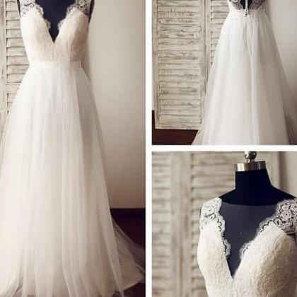 Sheer V Neckline Tulle Wedding Dres..