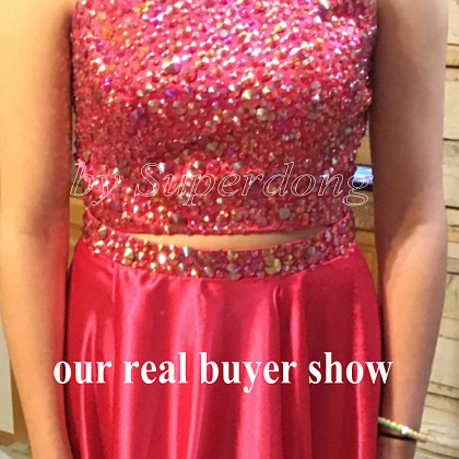 2 Piece Prom Dress,Luxury Crystal B..