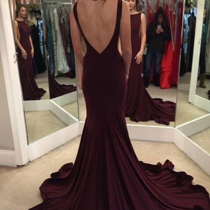 Open Back Sexy Mermaid Prom Dresses..