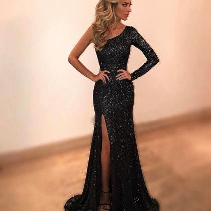 Black Evening Dresses,One Shoulder ..