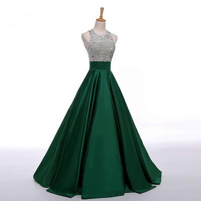 Dark Green Prom Dresses,Chic Sleeveless Empire Long Evening Dresses,Satin Prom Party Dresses,Real Photo Evening Dresses,Party Dresses 2017