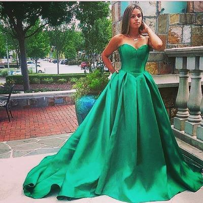 Formal Dresses,Emerald Green Ball Gown Prom Dresses,Lace Up Satin Long Prom Dresses,Pascoa,Celebrity Dresses,Ball Gown Evening Dresses 2017