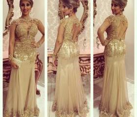 Gold Lace Long Prom ..