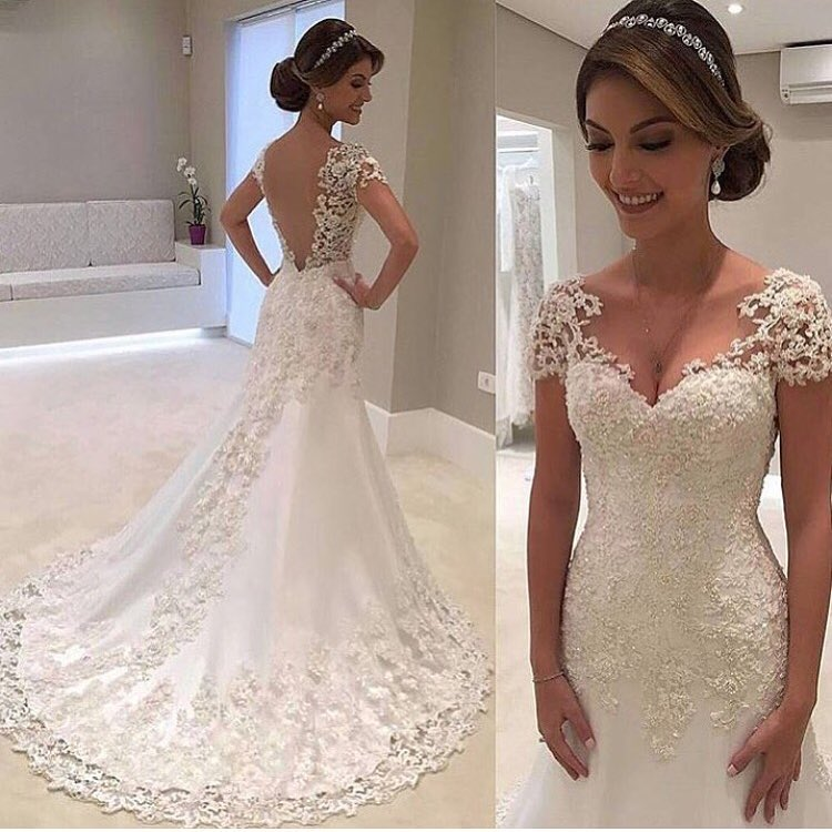 Short Sleeves Lace Bridal Dresses Suppliques Open Back Bridla White Wedding 2017