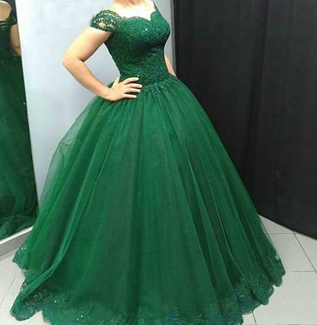 Short Sleeves Ball Gown Emerald Green Prom Dresses,Vestido De Longo ...