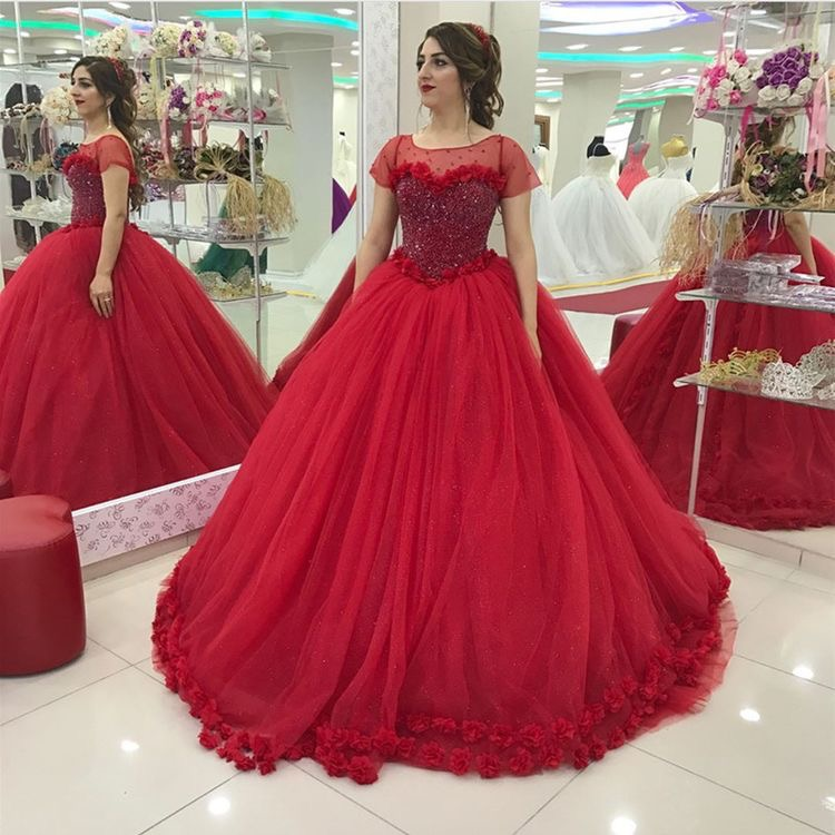 19c7c740dca30 Sparkling Corset Short Sleeves Red Bridal Dresses 2018,Embroidery Flowers  Edge Ball Gowns Bridal Dresses