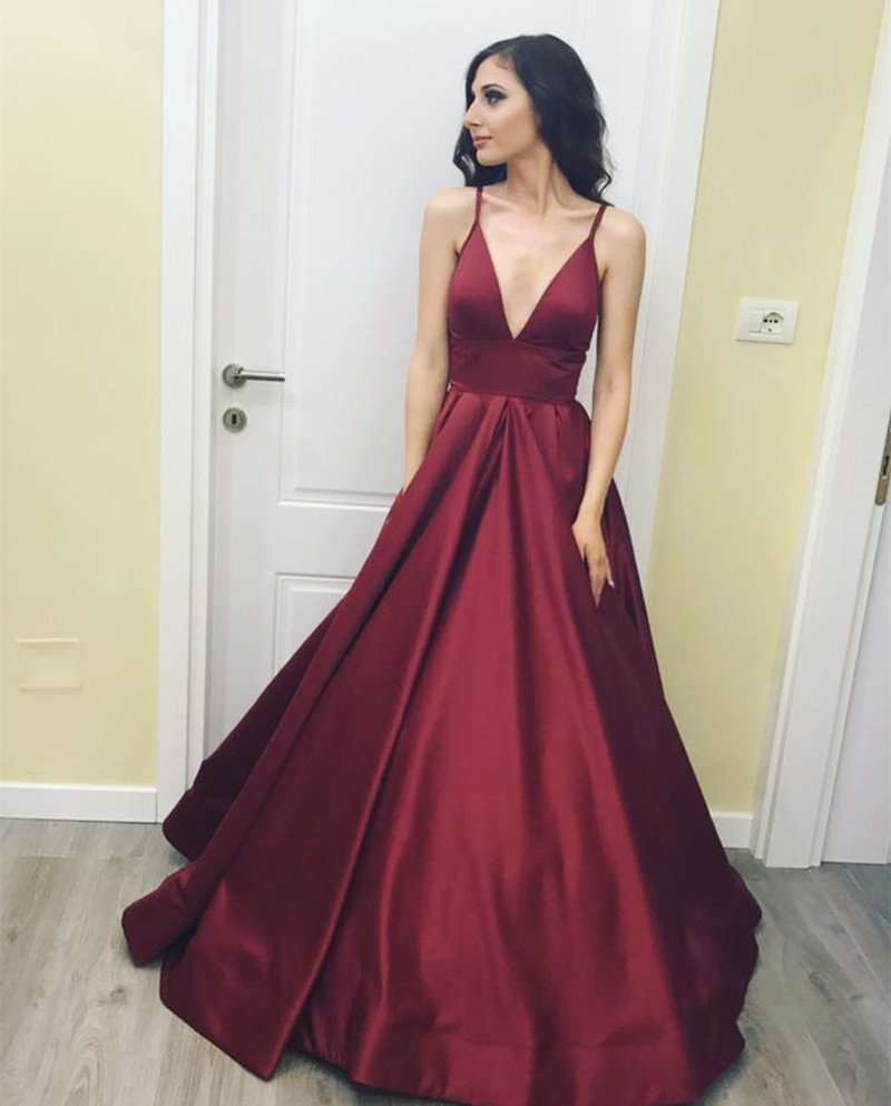 Deep V Neck Ball Gown Taffeta Prom Dresses 2018,Burgundy Long Prom Dresses,Royal Blue Prom Party Dresses