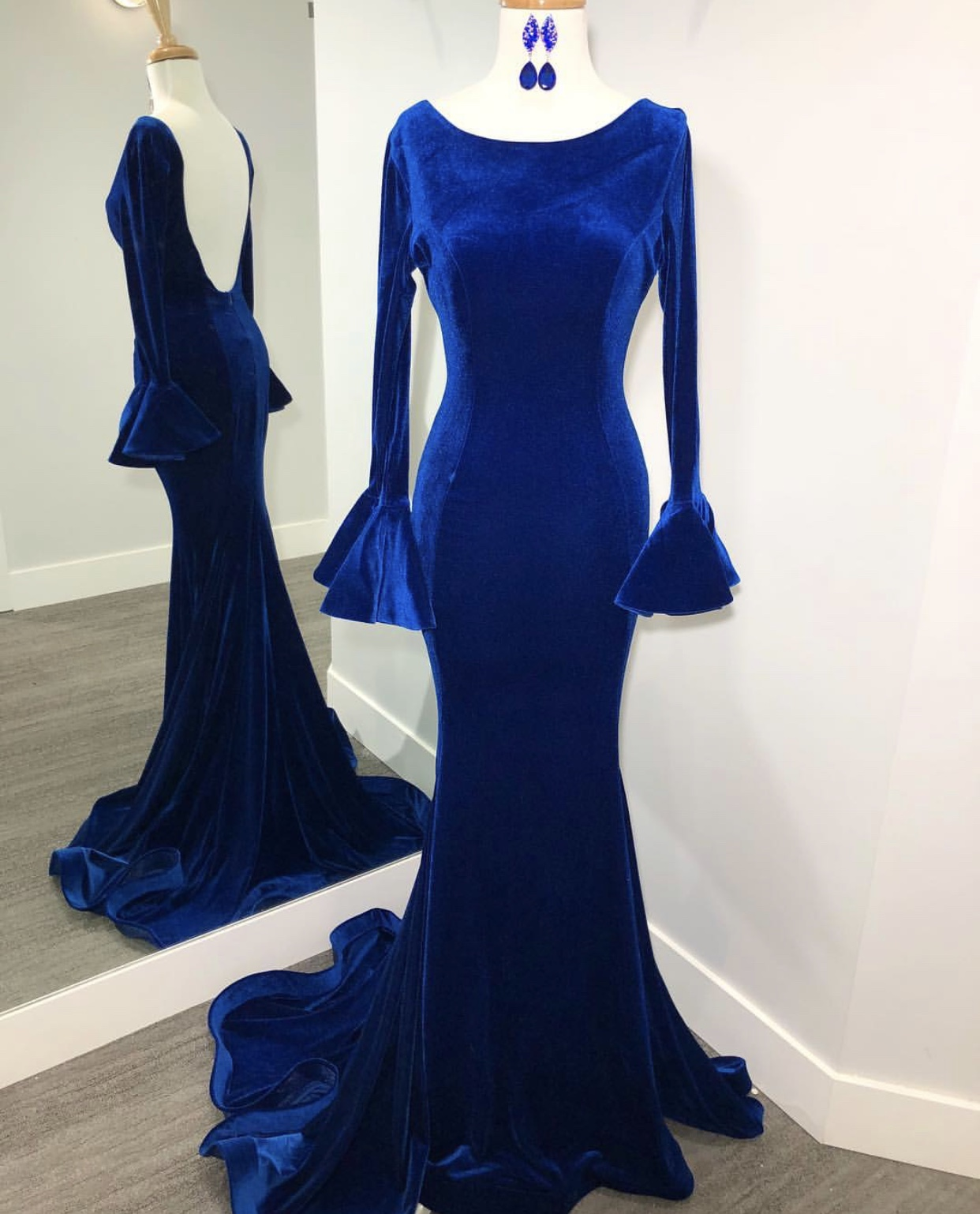 Ruched Long Sleeves Velvet Evening Dresses 2019,Royal Blue Mermaid Evening Party Dresses,Backless Formal Dresses
