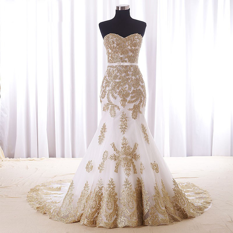 Real Wedding Dress,Gold Lace Appliques Bridal Dresses,Court Train Elegant Mermaid Wedding Dress 2016