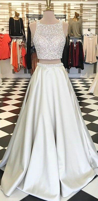 8aa167aa03cc Sleeveless Beads Satin Two Piece Prom Dresses,A Line Silver Prom Dresses  2017,Prom