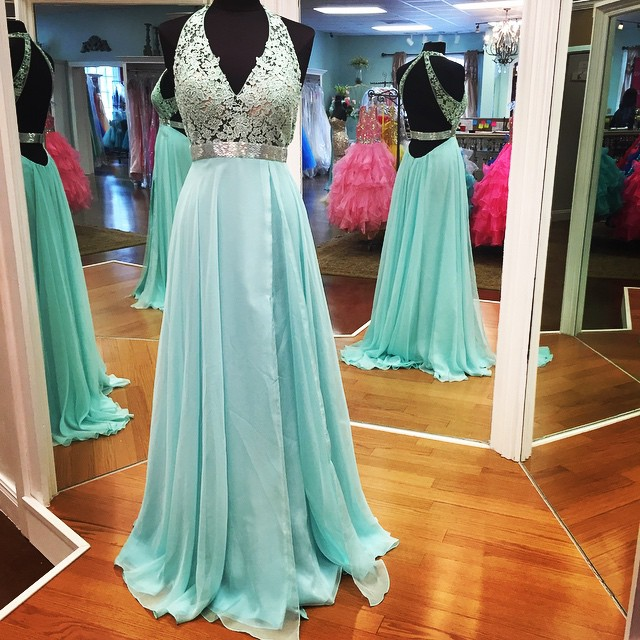 Empire Prom Dress,Lace Prom Dress,Halter Long Prom Dress,Sexy Backless Evening Party Dress,Open Back Prom Gowns