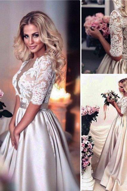 Champagne Lace Bridal Dresses,Half Sleeves Wedding Dresses,Bridal Dresses 2017,Court Train Satin Bridal Dresses,Ball Gowns Wedding Dresses