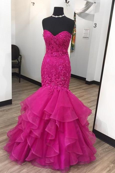 Sweetheart Ruffled Oraganza Mermaid Evening Dresses,Lace Appliques Wedding Engagement Dresses,Evening Party Gowns