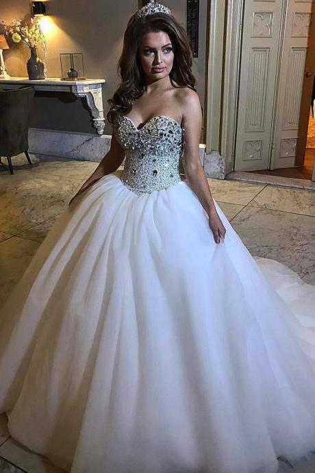 Bridal Dresses,Sparkly Corset Ball Gowns Bridal Dresses,Sweep Train Bridal Dresses,Lace Up Wedding Dresses