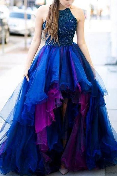 High Low Prom Dresses,Layered Organza Prom Dresses,Champagne Prom Dresses,Shinning Beaded Prom Dresses,Low Back Prom Dresses