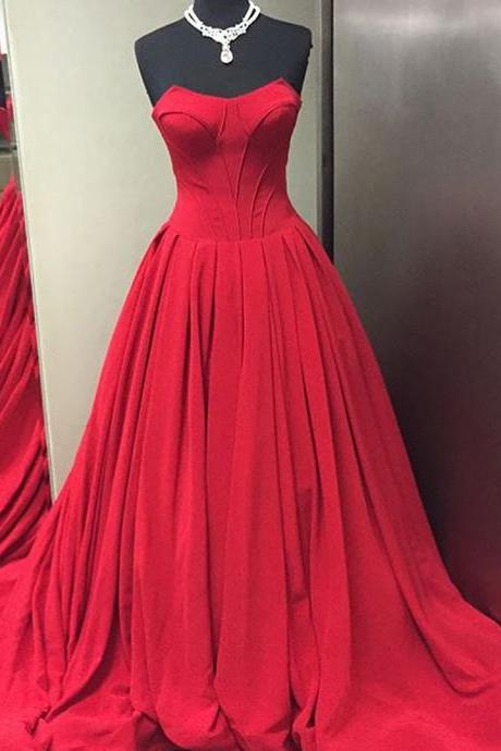 Red Evening Dresses with Bones,Ball Gowns Pleated Formal Dresses,Red Bridal Dresses,Evening Dresses 2017