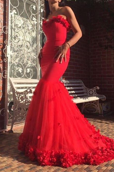 Formal Dresses,Appliques Mermaid Evening Dresses,Layered Tulle Evening Dresses Long,Red Dresses for Prom,Evening Dresses 2017