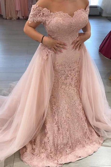 Mermaid Wedding Dress 2017,Pink Bridal Dresses,Off the Shoulder Lace Appliqued Bridal Dress with Tulle Train