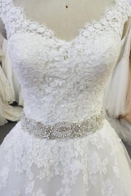 Charming V Back A Line Lace Wedding Dresses,Beading Belt Bridal Dresses,Real Made Wedding Dresses New