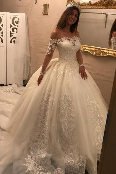 Luxurious Long Sleeves Bridal Dresses with Boat Beck,Lace Wedding Dresses Ball Gowns,Princess Boho Wedding Dress