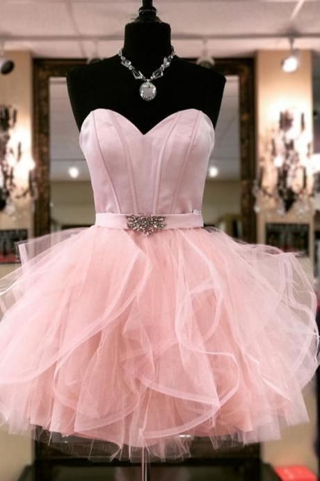 Ruffled Organza Boned Mini Cocktail Dresses,Ajax Tenue 2017 Voetbal,Crystal Belt Pink Cocktail Party Dresses,Homecoming Dresses 2017