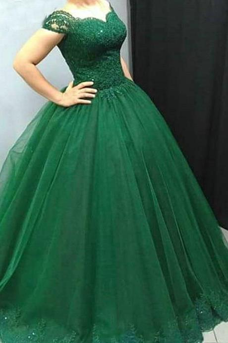 Short Sleeves Ball Gown Emerald Green Prom Dresses,Vestido de Longo,Bridal Dresses Ball Gown,Engagement Dresses 2017