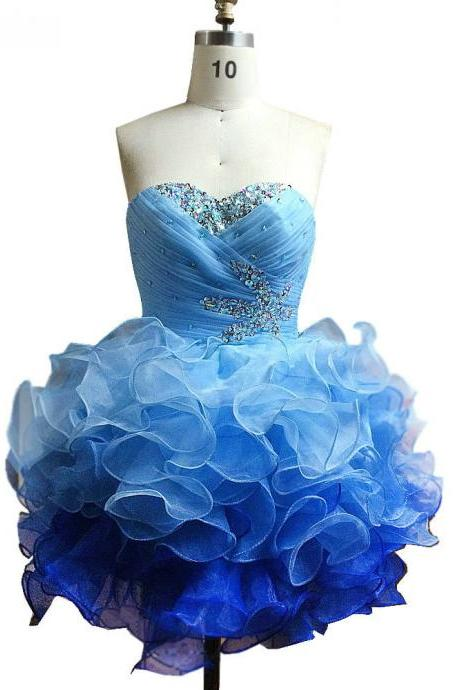 Layered Ruffles Mini Cocktail Dresses Ball Gown,Blue Cocktail Party Dresses,Homecoming Dresses 2017