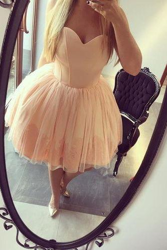 Puffy Pink Homecoming Dresses 2018,Cheap Prom Dresses Short,Tulle and Satin Cocktail Party Dresses with Bones