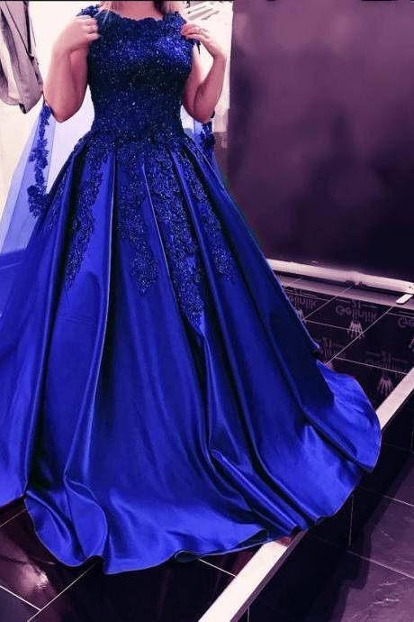 Lace Appliques Beaded Royal Blue Bridal Dresses,Ball Gown Satin Shinning Wedding Dresses 2018,Satin Prom Dresses with Train