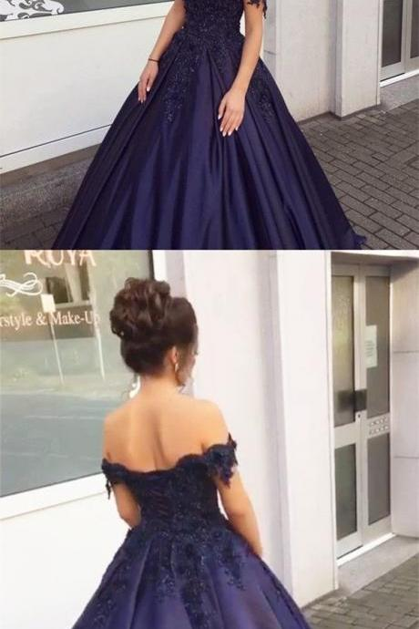 Embroidery Lace and Beads Ball Gown Engagement Dresses,Off the Shoulder Prom Dresses Satin,Navy Blue Bridal Dresses