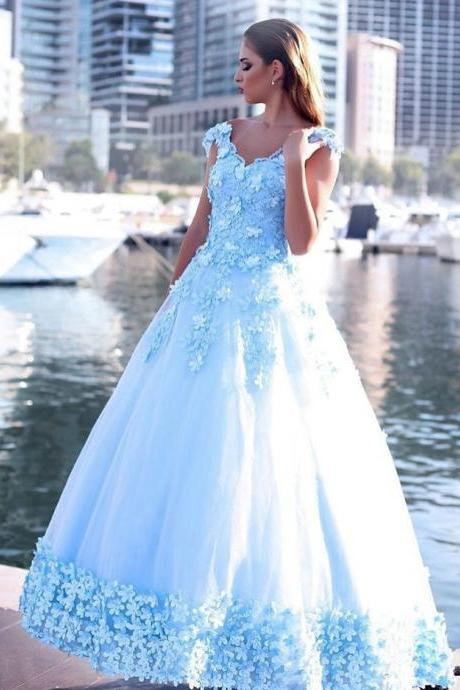 Ice Blue Flowers Edge Prom Dresses Ball Gown,Off the Shoulder Sweep Train Engagement Gown,Sweet 16 Dresses,Layered Tulle Prom Dresses 2018