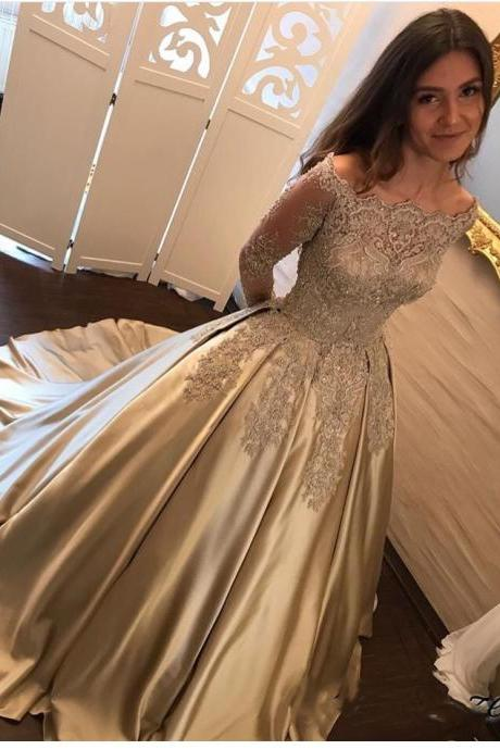 Gold Champagne Embroidery Lace Long Sleeves Bridal Dresses,Pearls Beaded Ball Gown Prom Dresses 2018,Charming Boat Neck Engagement Dresses