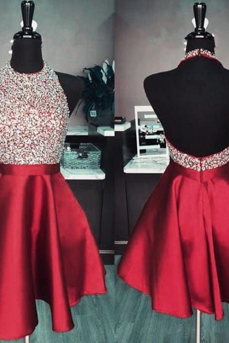 Maroon Puffy Homecoming Dresses,Backless Halter Lovely Homecoming Dresses,Shinning Beads Cocktail Party Dresses,Cute Prom Dresses Short