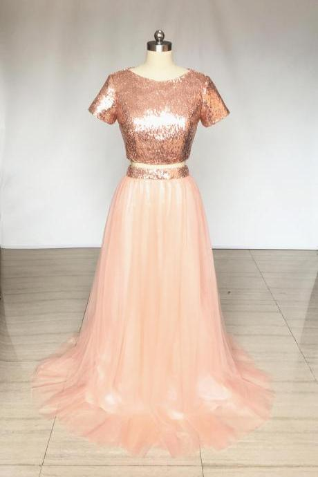 Two Piece Rose Gold Sequin Tulle Long Bridesmaid Dress with Short Sleeves,Sequin Bridesmaid Dresses,Long Bridesmaid Dresses