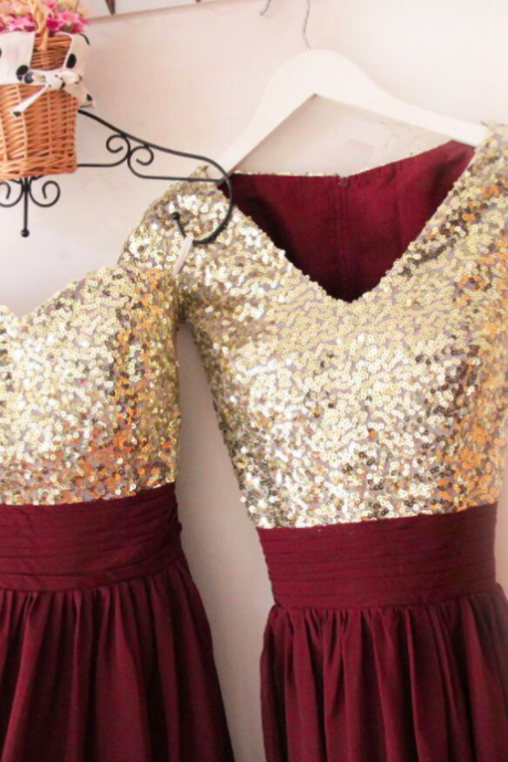 V Neckline Gold Sequin Chiffon Burgundy Bridesmaid Dresses,Short Sleeves Prom Dresses,Long Bridesmaid Dresses,Sequin Evening Dresses 2018