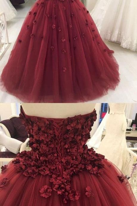 Lovely Flowers Appliques Pearls Ball Gown Prom Dresses,Burgundy Floor Length Bridal Dresses,New 2018 Prom Dresses,Gorgeous Formal Dresses,Engagement Gowns