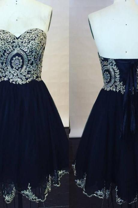 Sweetheart Embroidery Lace Navy Blue Mini Prom Dresses,Chiffon Lace Up Homecoming Dresses,Cocktail Party Dresses 2017