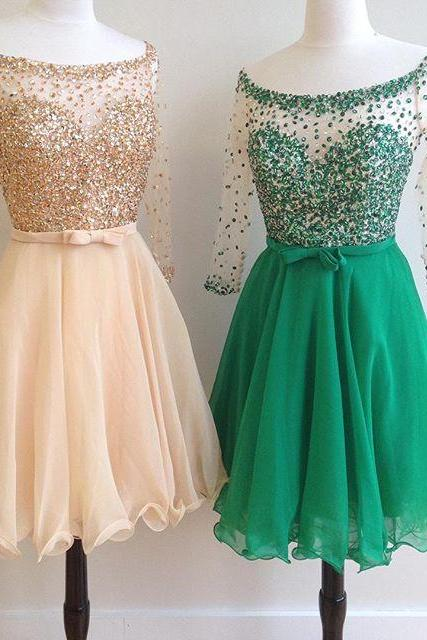 Round Neck Crystal Beaded Chiffon Prom Dresses Short,Long Sleeves Homecoming Dresses 2018,Knee Length Graduation Dresses