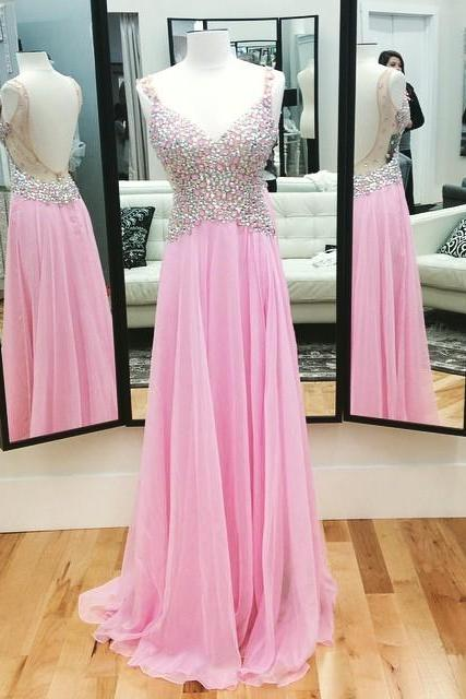 Backless Spaghetti Straps A Line Prom Dresses,Shinning Crystal Sweetheart Party Dresses,Long Prom Dresses 2018