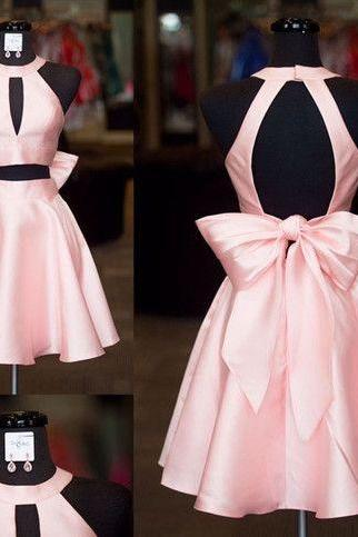 Open Back with Lovely Bow Two Piece Homecoming Dresses,Satin Short Prom Dresses,Two Piece Graduation Dresses Short