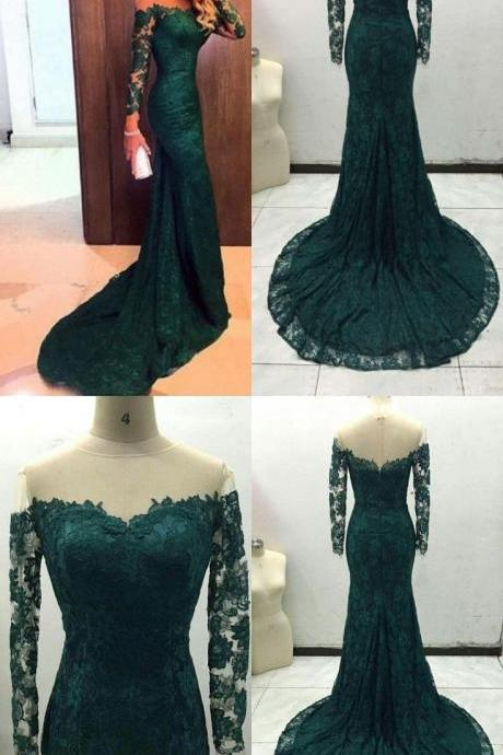 Sheer Neck Long Sleeves Mermaid Lace Evening Dresses,Court Train Green Evening Party Dresses Lace,Real Made Evening Gown Lace,Evening Dress 2018