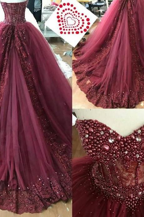 Boned Sweetheart Bridal Dresses with Luxury Crystal,Burgundy Lace Appliques Court Train Prom Dresses,Small Pearls Beaded Bridal Dresses 2018