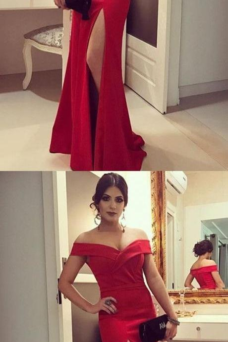 Red Formal Evening Dresses,Off the Shoulder v Neckline Evening Dresses,Side Slit Sexy Evening Party Dresses,Satin Evening Dresses