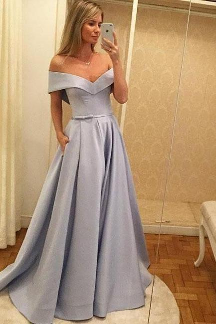 Bow Belt Princess Style Evening Dresses,Long Evening Dresses,Evening Party Dresses Satin,Pleated A Line Prom Dresses