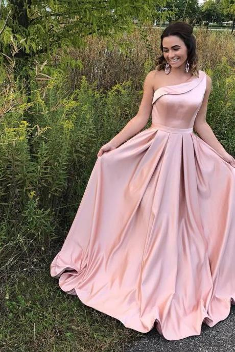 Pearl Pink One Shoulder Satin Evening Dresses,A Line Long Prom Dresses 2018,Wedding Party Dresses New