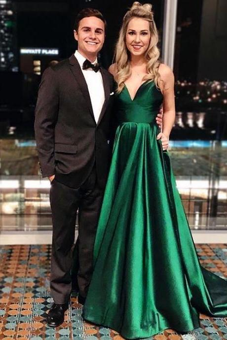 Green Taffeta Sexy V Neck Evening Gown 2018,Spaghetti Straps Long Evening Dresses,Royal Blue Prom Dresses