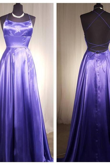 Cross Back A Line Long Prom Dresses 2018,Side Slit Evening Gown,Halter Neck Sexy Prom Dresses Long