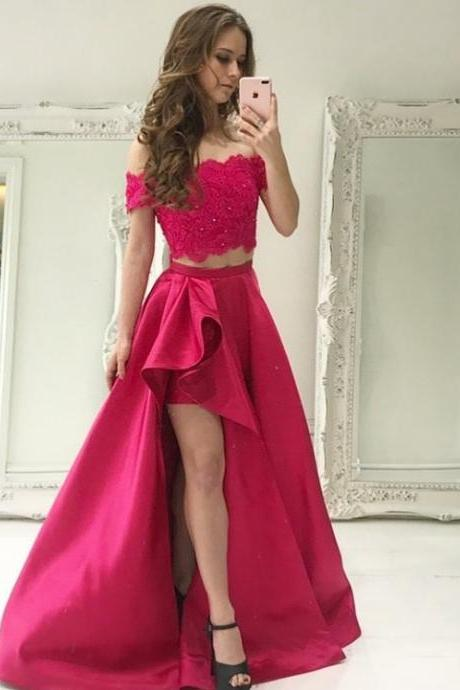 Rose Pink Boat Neck Lace Two Piece Prom Dresses,Leg Slit Beaded Satin 2018 Prom Gown,Long Homecoming Dresses 2018